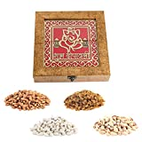 Aaina Ganesh Logo With Shubh Dipawali Designer Wooden Handicraft Gift Box With Dry Fruits