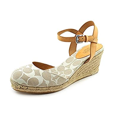 Coach Valerie Womens Size 9 Beige Textile Wedge Sandals Shoes