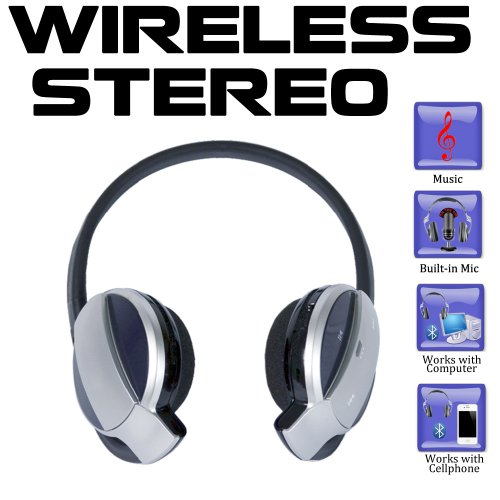 Amica SH52 High Definition Stereo Bluetooth Headphones with built-in Mic for iPhone 4 S, 3G, iPod and iPad Tablets also included with the Package Travel and Car Charger Amica Electronics Bluetooth Headsets autotags B008QHEY5Q