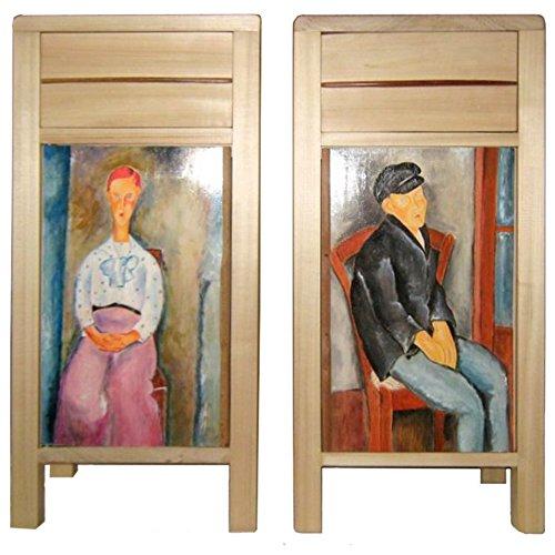 Spirito di legno - Coppia di comodini a un cassetto e anta battente dipinta a olio con quadri di Modigliani