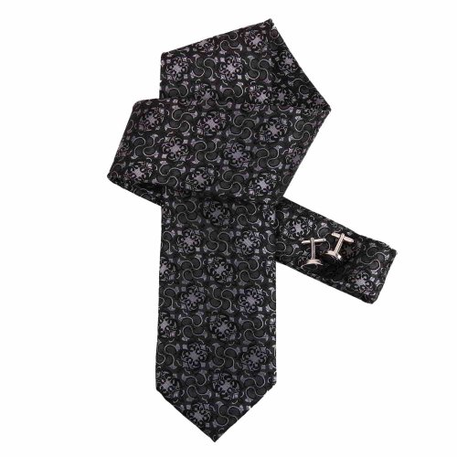 Grey Dress Ties Men Grey Patterned Woven Microfiber Tie Cufflinks Gift Box Tie Set Dan Smith Relax necktie Set DAB1036