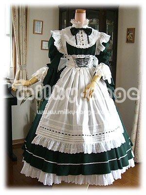 (ミルキーアンジェ) milky ange クラシック バッスル付き パーラー メイド シモーヌ フォレストグリーン XL ロング メイド服