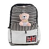 niceEshop Lightweight Cartoon Bear Pendant Stripe Laptop Backpack Canvas Bookbag School Bags for Girl, Black