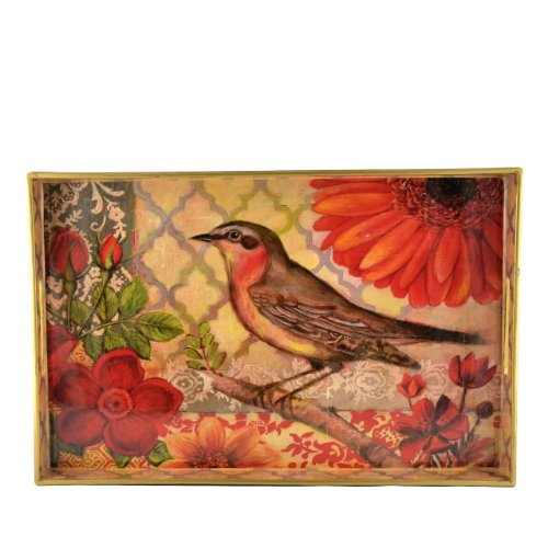 Creative Co-Op Decorative Tray With Bird Image front-555180