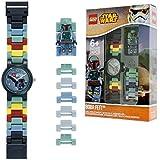 LEGO Star Wars 8020448 Boba Fett Kids Minifigure Link Buildable Watch | green/grey | plastic | 25mm case diameter| analogue quartz | boy girl | official (Color: Purple)