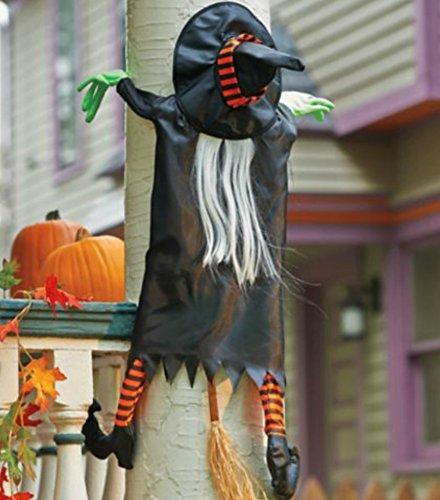 crashing witch halloween decoration