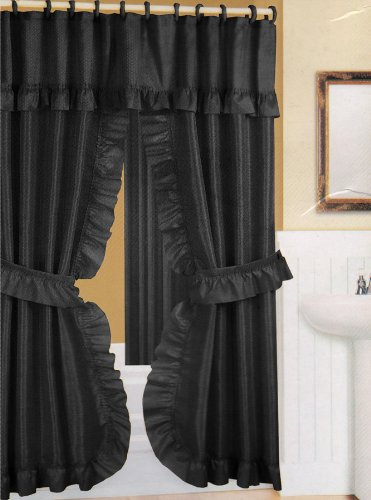 Black Fabric Double Swag Shower Curtain with Matching Fabric Covered Shower Rings/Hooks and Vinyl Liner