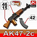 AK47 Overmolded Gunmetal Rifle with Bonus Ammo - Custom LEGO Minifigure Pieces