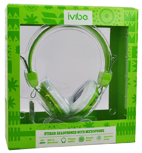 Iv-200-Grn On-Ear Stereo Headphones With Built-In Microphone For Mp3 Players, Ipods And Iphones, Green