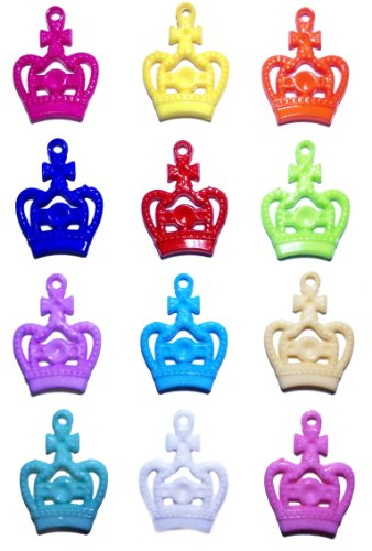 Pack of 12 Fancy Crown Loom Charms for Rainbow Rubber Band Loom Bracelets (Cr)