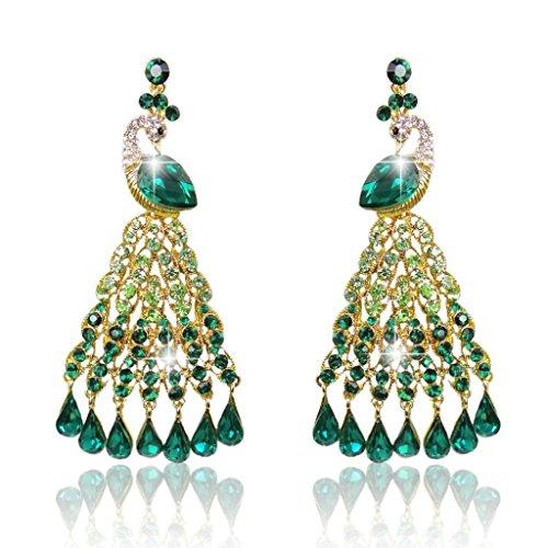 EVER FAITH Gold-Tone Peacock Fan-Shape Chandelier Earrings Green Austrian Crysta…
