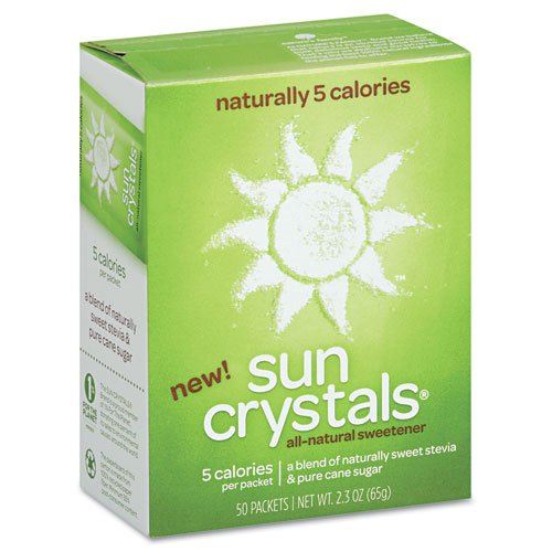Sun Crystals Products - Sun Crystals - Sun Crystals All-Natural Sweetener, 1.3 g, 50 Packets/Box - Sold As 1 Box - Made with all-natural ingredients-pure cane sugar and stevia. - One packet equals the sweetness of two teaspoons of sugar with only five cal