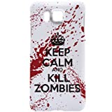 Samsung Galaxy Alpha Case - White / Red Hard Plastic (PC) Cover with Funny Keep Calm and Kill Zombies Design