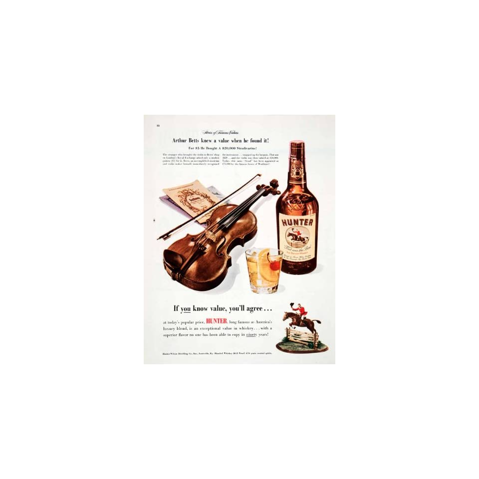 Collectibles Original Print Ad 1950 Hunter Blended Whiskey If You Know Value Advertising
