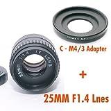 Kit adaptador de lentes de película Fotasy  M2514 25MM F1.4 TV y  para Cámaras Olympus Panasonic MFT Micro 4/3 M43.