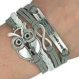 Trendy Women Infinity Owl Friendship Antique Leather Cute Charm Bracelet Gift including gift box by Boolavard® TM