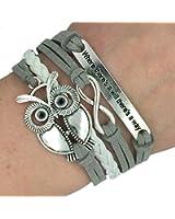 Easter Infinity Owl Friendship Leather Charm Bracelet Gift including gift box Boolavard® TM