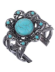Yazilind Vintage Hollow Out Round Rimous Turquoise Tibetan Silver Flower Shape Cuff Bangle Bracelet