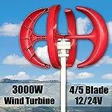 SHIJING 3000W Wind Generator 4/5 Blades Generator 12/24V Lantern Wind Turbines Vertical Axis with Controller for Household Streetlight,5 (Tamaño: 5)