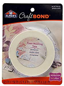 Elmer's E4025 CraftBond Foam Mounting Tape, Permanent, 1/2-Inch by 150-Inch, White
