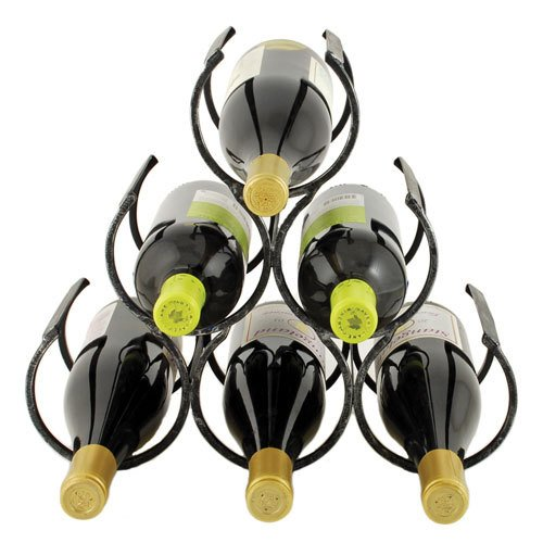 TWINE the Wine Shrine Pyramid Triangular Wine Storage Bottle Rack for Counter Top - Holds 6 Bottles