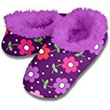 Violet Flowers Pattern Soft Snoozies Sock Slippers - Non-skid Sole