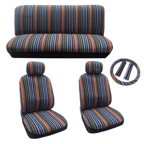 Baja Blue Saddle Blanket Seat Cover Set - 11pc Front Rear Headrests Steering Wheel Cover & Seat Belt Pads