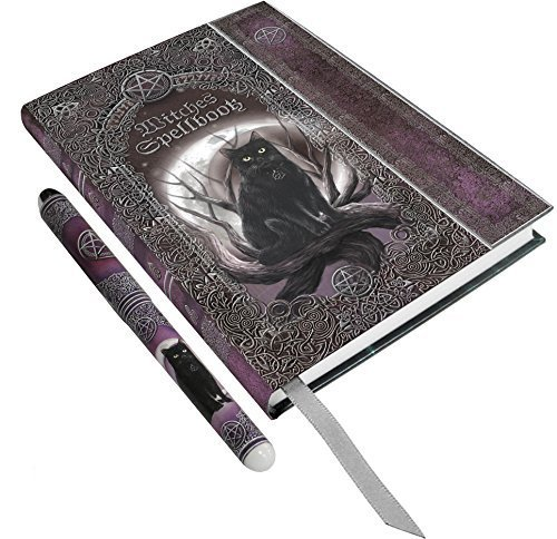 "Luna Lakota Spells Black Cat 6.75"" Hard Cover Embossed Journal Book with Pen by Dollar Days"