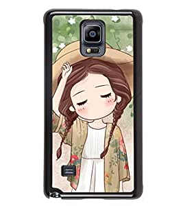 iFasho Lovely Girl with Hat Back Case Cover for Samsung Galaxy Note 4