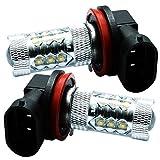 高爆光 80W LEDバルブ H11/H8/H16兼用型 CREEチップ採用 プリウス アクア 600系タント/タントカスタム 80系ノア フォグランプ適合 ホワイト 6000K
