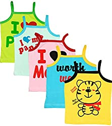 MYFAA Baby Girls' Cotton Regular Fit Vest - Combo of 5 (Multi-Coloured, 6-9 Months)