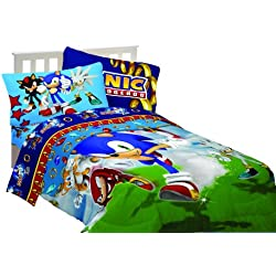 Sega Sonic The Hedgehog Sonic Speed 64 by 86-Inch Microfiber Comforter, Twin