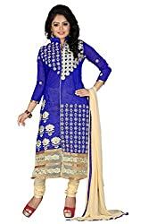 Zombom Blue Cotton Embroidered Un-stitched Salwar Suit