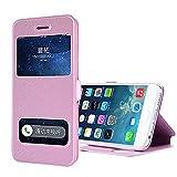 iPhone 6s ケース iPhone 6 ケース 耐衝撃 カバー 手帳型 窓付き スタンド スリーブ 本革調 横開き (ピンク)