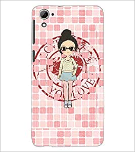 PrintDhaba Girl with spectacles D-4065 Back Case Cover for HTC DESIRE 826 (Multi-Coloured)