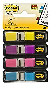 Post-it Flags, Ideal For Marking and Flagging Documents, Assorted Bright Colors, 1/2-Inch Wide, 35/Dispenser, 4-Dispensers/Pack (683-4AB)