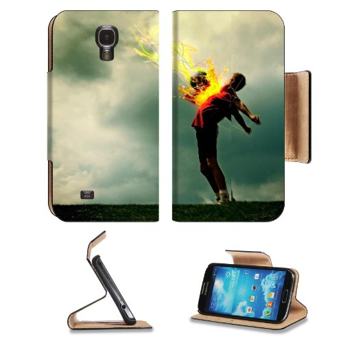 Soccer Ball Boy Pass Abstract Design Samsung Galaxy S4 Flip Cover Case With Card Holder Customized Made To Order Support Ready Premium Deluxe Pu Leather 5 Inch (140Mm) X 3 1/4 Inch (80Mm) X 9/16 Inch (14Mm) Luxlady S Iv S 4 Professional Cases Accessories
