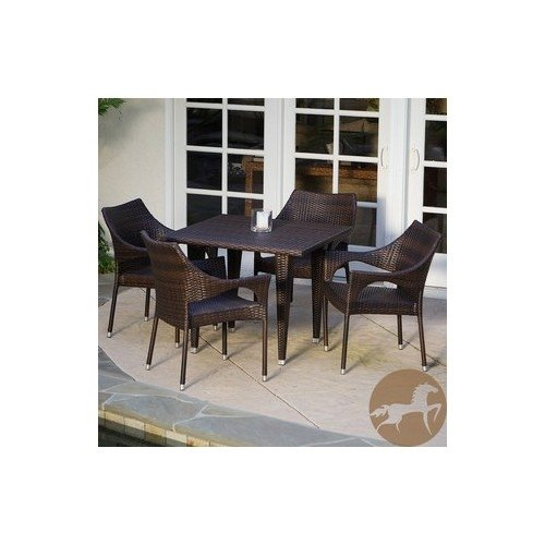 Patio Furniture 5-piece Outdoor Dining Set Crafted of Tightly-woven Synthetic Wicker. New! Features Four Stacking Arm Chairs & Square Table in a Rich Brown Color