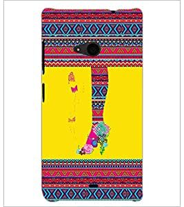 PrintDhaba Tribal Pattern D-4169 Back Case Cover for MICROSOFT LUMIA 535 (Multi-Coloured)