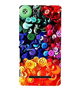 Colourful Buttons 3D Hard Polycarbonate Designer Back Case Cover for Sony Xperia C3 Dual :: Sony Xperia C3 Dual D2502