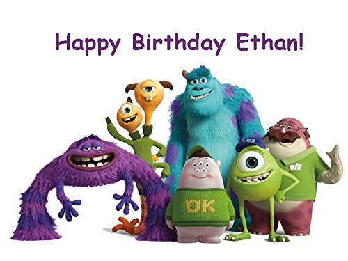 Monsters University Sulley Mike Personalized Edible Cake Image Birthday Party NIP