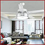 OCT® Indoor Pendant Lights Modern 5 Iron Painted Blades +Wireless Remote Control Brushed Chrome Chandelier 48 Inch Led Ceiling Fan Lights