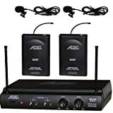 Audio2000 Awm-6032um UHF Dual Channel Wireless Microphone System with Two Lapel (Lavalier) Mic