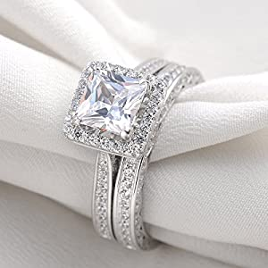 she Jewellery 2.8 Carat Princess White Cz 925 Sterling Silver Wedding Band Engagement Ring Sets Size 11 from Newshe Jewellery