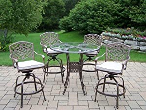 Oakland Living Hummingbird Mississippi Cast Aluminum 5-Piece Swivel Bar Set with 42-Inch Table and Cushions