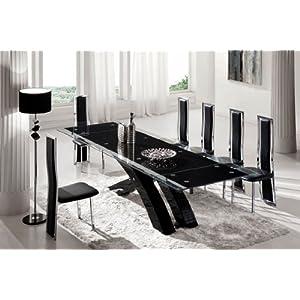 Table manger table de salle manger nexus noir extensible en verre et 8 chaises tuxedo - Table salle a manger verre trempe noir extensible ...