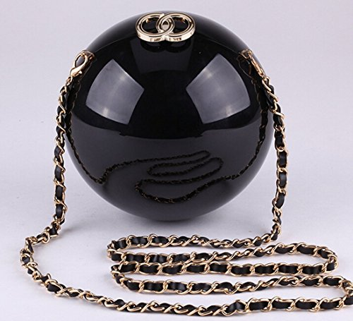 Unique Acrylic Round Ball Women's Pearl Mini Cross-Body Handbags Cocktail Party Evening Bag Purse (Black) (Hermes Jelly Bag compare prices)