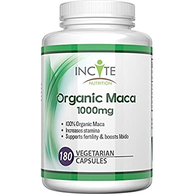 Organic Maca root 180 vegetarian capsules 1000mg MONEY BACK GUARANTEE - not powder, oil or tablets - Health Benefits Include increased fertility and helps with menopause, Vegan Maca helps both men & women.