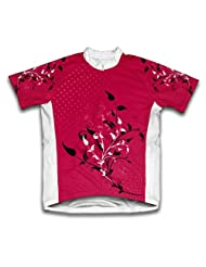 Cherry Red Blossom Short Sleeve Cycling Jersey for Women