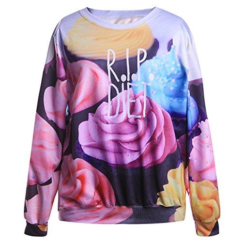 THENICE Donna Hip-hop manica lunga T-shirt Felpe (ice cream)